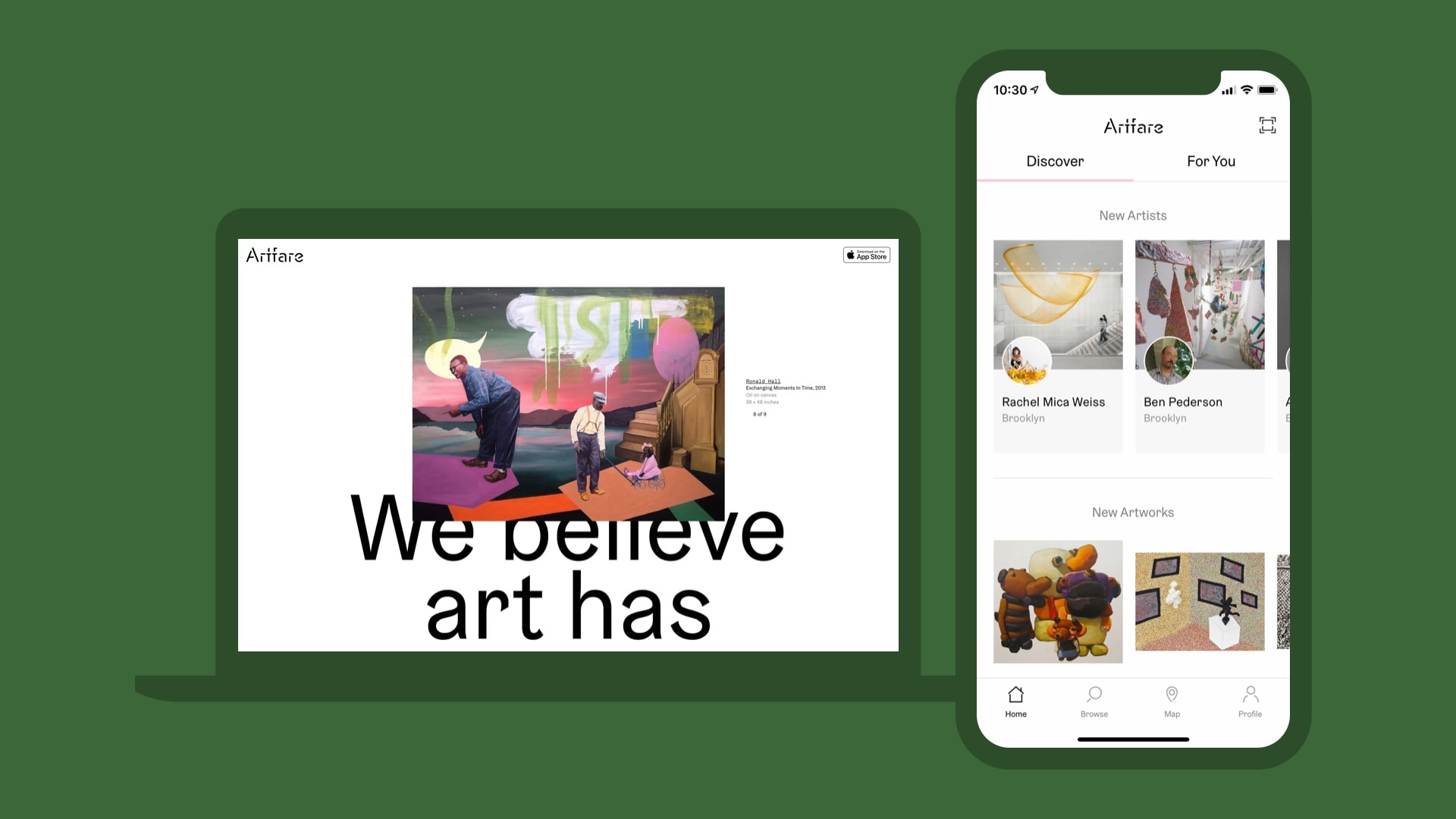 Artfare web homepage and Artfare iOS Discover Tab