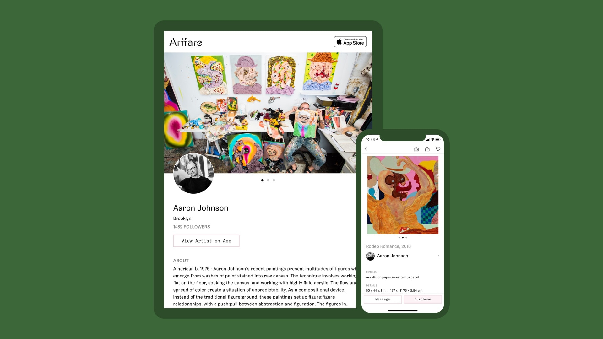 Artfare tablet Artist Profile and Art Detail screen